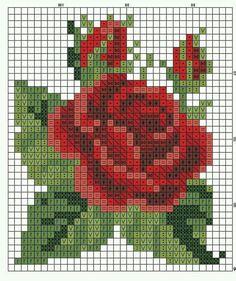 Cross Stitch Borders, Cross Stitch Rose, Cross Stitch Flowers, Cross Stitch Designs, Cross Stitching, Cross Stitch Embroidery, Embroidery Patterns, Cross Stitch Patterns, Crochet Bedspread Pattern