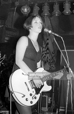 Rachel Goswell of Slowdive performs on stage, United Kingdom, 1991.