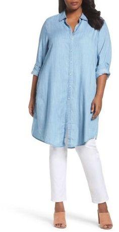 Foxcroft Plus Size Women's Brin Chambray Tunic Dress
