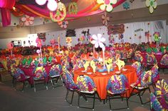 *70s party* - Love the idea of putting tie-dyed shirts on the chairs! party-ideas