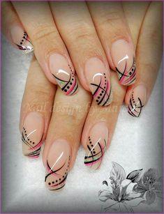 Gel Nail Art, Acrylic Nails, Nail Polish, Beautiful Nail Designs, Cool Nail Designs, Fancy Nails, Pretty Nails, Lines On Nails, French Nail Art