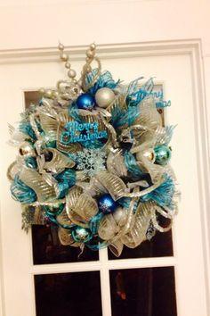Deco mesh ribbon wreath by UniqueFloral on Etsy