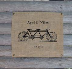 Burlap art Tandem Monogram print || barn wedding, rustic, home decor, bicycle decor, interior design, living room, bedroom, kitchen