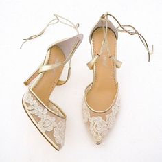 Feminine, yet so sexy! Alencon lace graces a pale gold Gold Lace Wedding Shoes with ivory Alecon Lace. Designed by Bella Belle Shoes.
