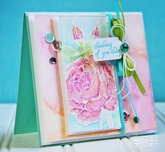 Beautiful water colored rose using a stamp set from Crafty Secrets and Inktense pencils.