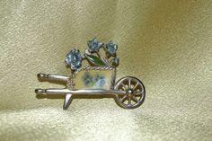 Vintage Signed KC Enamel Flower Cart Figural by ColorsoftheSeasons, $27.00
