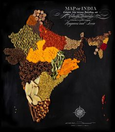 India - Country Maps Made from RegionalFoods by  by Caitlin Levin and Henry Hargreaces -These maps show how food has travelled the globe—transforming and becoming a part of the cultural identity of that place… This project speaks to the universality of how food unites people, brings us together and starts conversation.