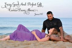 Couple beach maternity photo