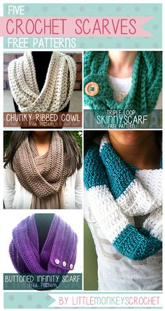 //   I love scarves! They are probably my favorite thing to crochet. They dress up an outfit so effortlessly! All of these scarves and cowls are infinity-style, which means they have no end point. (Well, except for the Buttoned Infinity Scarf - that one can be worn either way.) Just throw the