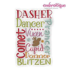 Embroidery Designs (We are working on sorting these into categories) :: Christmas :: Reindeer Names Block - Whimsical Christmas Design - Embroitique.com