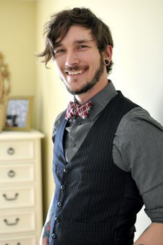 bowtie and vest with dark shirt combo