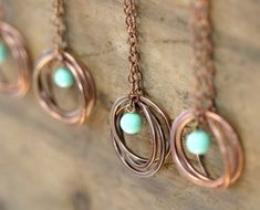 Copper Ring Necklace with Vintage Baby Blue by monkeysalwayslook, $ 36.00 >> I LOVE this piece! What a perfect summer necklace!