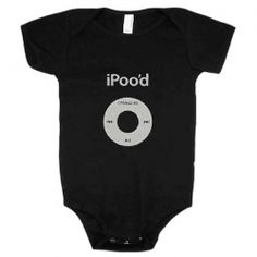 iPood Black iPod Onesie - The iPoo'd infant body suit onesie is perfect for the future rock n' roll music lover and the satirist parent who loves rock n' music on their Apple iPod!