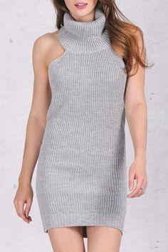 bfece18083 PETITE Knitted Halter Turtleneck Bodycon Dress