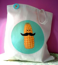 Corn with Moustache Tote Bag £7.50
