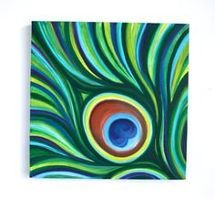 10 x 10 Original Acrylic Abstract Peacock Feather by MegzArt, $25.00