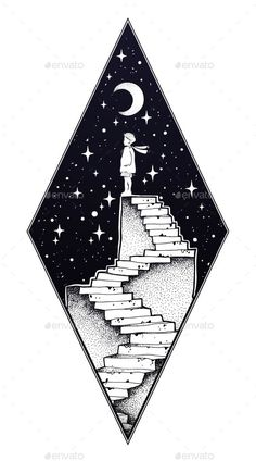 Abandoned Ruin Stairway with a Boy Looking at Moon – Landscapes Nature – Drawing Space Drawings, Pencil Art Drawings, Easy Drawings, Drawing Sketches, Drawings Of Stars, Drawings For Boys, Doodle Art, Surreal Tattoo, Geometric Wolf