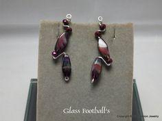 Purple Swirl Football Shape Earrings by BobsFashionJewelry on Etsy