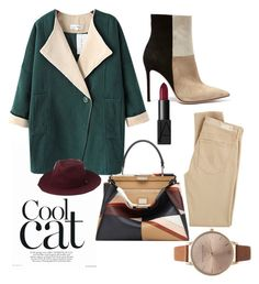 """""""Cool Cat"""" by andreaher on Polyvore featuring Gianvito Rossi, AG Adriano Goldschmied, Chicnova Fashion, Fendi, Whistles, NARS Cosmetics and Olivia Burton"""