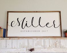 LARGE Family Last Name Wood Sign Personalized Family Established Sign Wedding Year Gift Hand Painted Farmhouse Sign Anniversary 48 x 24