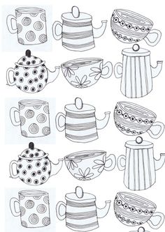 tea cups and Tea pots