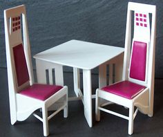 Dolls House Miniature Charles Rennie Mackintosh de Luxe Table and Chairs | eBay