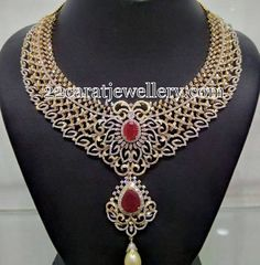 Jewellery Designs: Belgium Diamonds Heavy Necklace