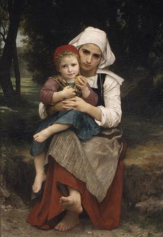 Breton Brother and Sister, 1871  William Bouguereau (French, 1825–1905)  Oil on canvas  50 7/8 x 35 1/8 in. (129.2 x 89.2 cm)    Bouguereau championed academic training throughout his successful artistic career, even as it fell out of favor during the last decades of the century. Beginning in the 1850s and 1860s, young artists working in France showed an increased awareness of the social and economic changes taking place.