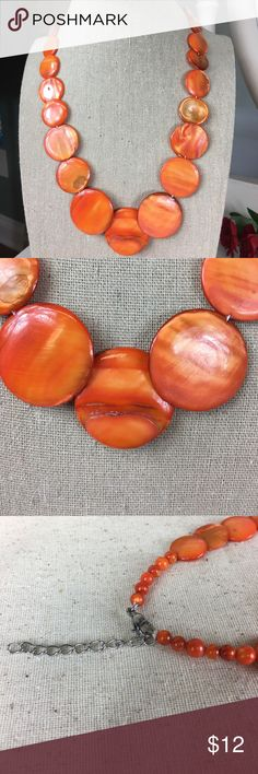 """🆕 Orange Shell Necklace Very pretty orange shell necklace with stainless steel clasp.  New.  Size 19"""".  Look for matching bracelet and earrings in my other listings.  BQN Kaki Jo's Closet Jewelry Necklaces"""