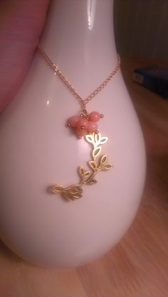 Bead cluster and leaf pendant necklace by SophiaEmmeline on Etsy, $15.00