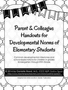 Handouts For Grades K 5 Of Common Developmental Milestones And School Expectations Children In