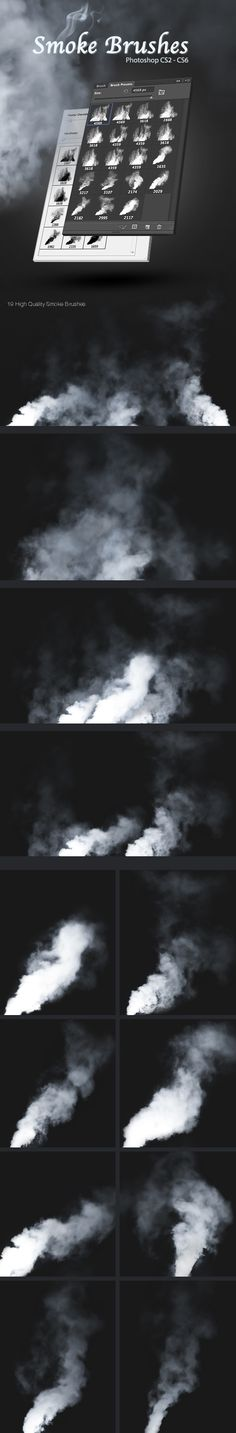 Smoke Photoshop Brushes #design #ps Download: http://graphicriver.net/item/smoke-brushes/3594633?ref=ksioks