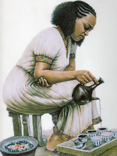 Artistic Works of Adis Gebru of Ethiopia | My Coffee Maker. Coffee from Kaffa Ethiopia still grows wild in the shadows of the forests and the coffee ceremony is a favorite of many Ethiopian restaurants and homes