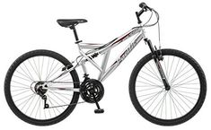 """Product review for Pacific Men's Derby Mountain Bike, 18-Inch/Medium - The Pacific Derby 26"""" men's full suspension mountain bike can be ridden easily on a wide variety of terrain thanks to responsive handling, large tires for stability and comfortable but athletic riding position. The steel mountain frame provides easy control and the 1-piece mountain..."""