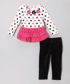 Pink Dot Skirted Tunic & Black Pants - Toddler
