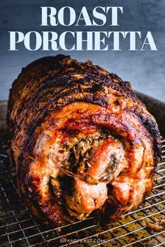 Awesome centerpiece for holidays or parties or any day you want a delicious show stopping meal. Stuffed with orange zest, fennel, rosemary, pine nuts and garlic this will become a family favorite dinner. Porchetta Roast, Porchetta Recipes, Pork Roast Recipes, Meat Recipes, Dinner Recipes, Cooking Recipes, Game Recipes, Pork Belly Porchetta Recipe, Carne Asada