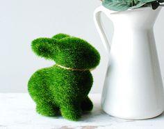Easter Bunny Rabbit. Engagement Wedding Decor Gift. Moss Bunny. Artificial Turf. Grass Animal Decorations.