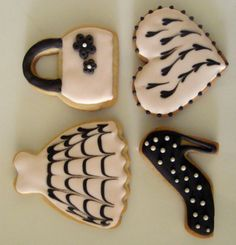 Pink and Brown Fashion Cookies- For my Birthday party. Shoe Cookies, Paint Cookies, Cupcake Cookies, Sugar Cookies, Cupcakes, Heart Cookies, Birthday Cookies, 30th Birthday, Sugar Cookie Royal Icing
