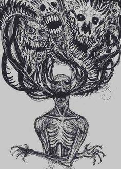 dessin draw skull squelette