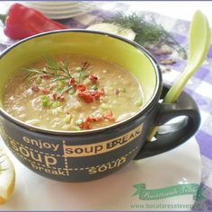 cream of lentils Clean Recipes, Moscow Mule Mugs, Lentils, Cheeseburger Chowder, Salsa, Bacon, Soup, Tableware, Ethnic Recipes