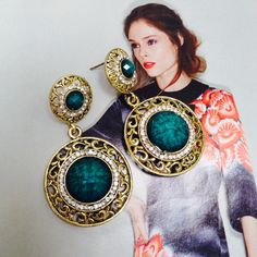 Host pick Gorgeous antique looks drops A great combination of gold with teal marble style stone with crystal stones to add the detailing .                                                                        10 % discounts on bundles  Fast shipper free gift with every purchase                               Top 10% seller  No Paypal  No trade  Use offer button to make offer Jewelry Earrings