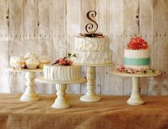 Vintage Style Pedestal Cake Stands - Set of Three by Roxy Heart Vintage, LLC, http://www.amazon.com/dp/B00B1WUEV6/ref=cm_sw_r_pi_dp_AP99rb0VXFJWE