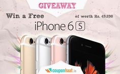"COUPONHAAT invites you to ""Win a FREE Apple iPhone 6S of worth Rs. 49,890/-"".  To Participate Click Here: http://goo.gl/t13tP4"
