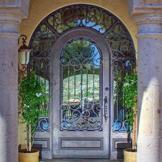 First Impression has a wide selection of wrought iron entry doors. Steel doors offer beauty and security. Contact First Impression Ironworks today for an in-home appointment Exterior Doors, House Exterior, Spanish Revival Home, French Doors Exterior, Wrought Iron Doors, Iron Entry Doors, Metal Door, Iron Security Doors, Metal Screen Doors