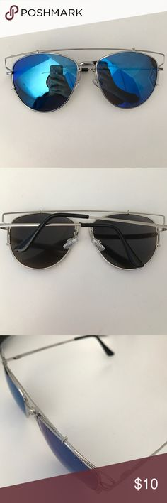 Blue mirrored sunglasses Oversized blue mirror sunglasses comes with sunglasses case as pictured!! Nasty Gal Accessories Sunglasses