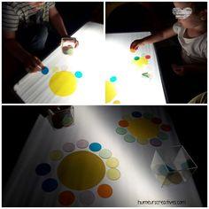 Activités table lumineuse, activités sensorielles pour enfants
