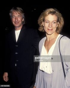 Alan Rickman and Juliet Stevenson attend the premiere of 'Much Ado About Nothing' on May 10, 1993 at Mann National Theater in Westwood, California.