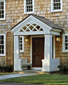 Brown front door Photos of fine Cape Cod Homes - House at Serenity Bluff - Cape Cod Architects Front Porch Steps, Small Front Porches, Front Porch Design, Portico Entry, Entry Doors, Front Entry, Front Doors, Primitive Homes, House With Porch