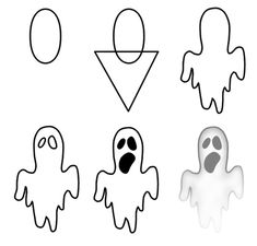 Drawing a cartoon ghost Easy Halloween Drawings, Easy Drawings, Ghost Drawing Easy, Halloween Halloween, Drawing Lessons, Drawing Techniques, Drawing For Kids, Art For Kids, Ghost Cartoon
