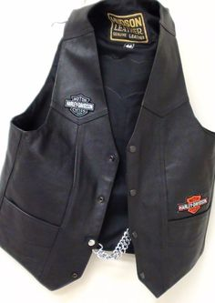 Vintage Harley Davidson Genuine Leather Vest  Size 46 Black Excellent Condition on Etsy, $320.00